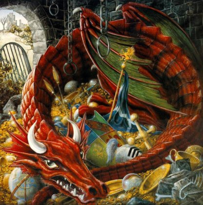 [Dragon guarding its treasure pile]