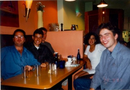 [Dinos, me, Huw, Tharuat & James in a bar in Swansea]